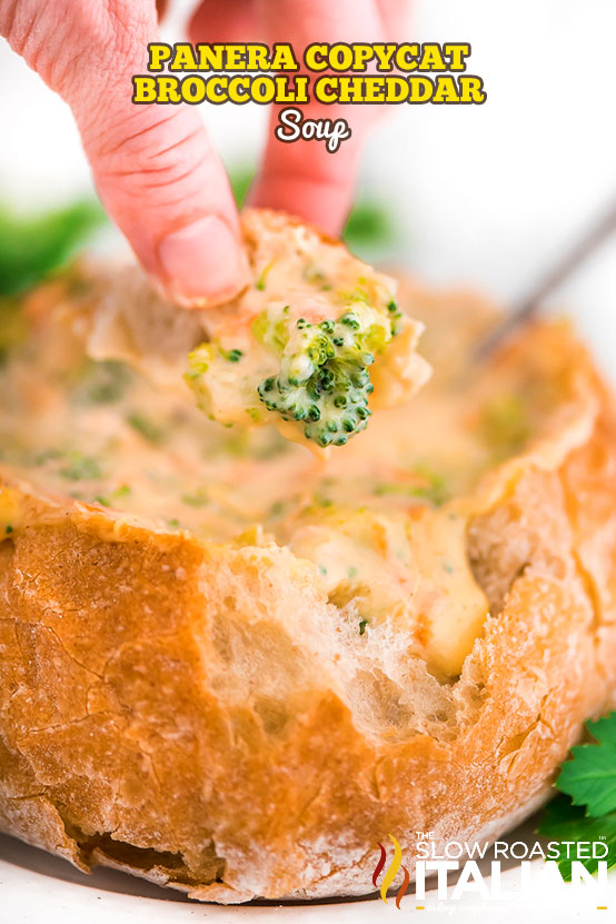 titled photo and shown: Panera Broccoli Cheddar Soup Recipe