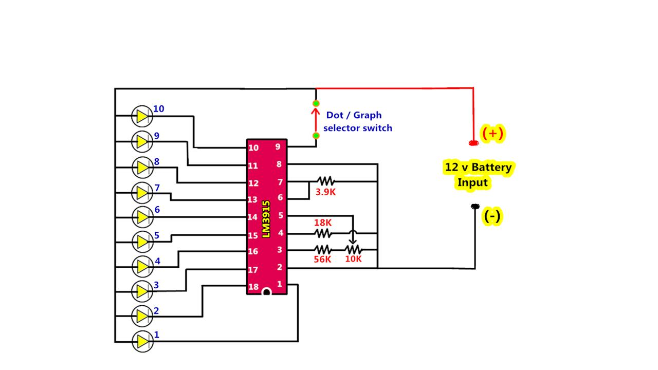 Power Gen Circuit Diagram List Part 2 Schema Pinterest On 3 Led Chaser This How To Make The 12v Battery Voltage Level Indicator Using Lm3915 That Ic Is A Monolithic Integrated Senses Analog