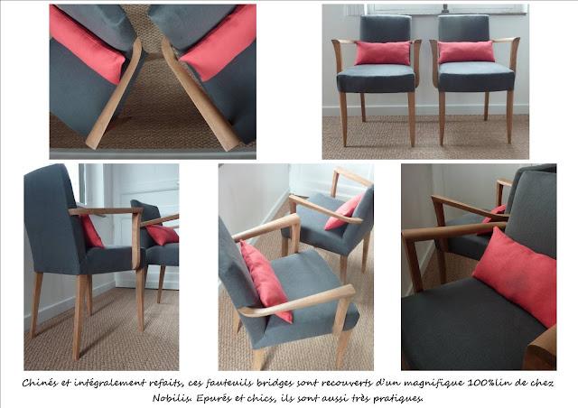 Paire de fauteuils bridge gris