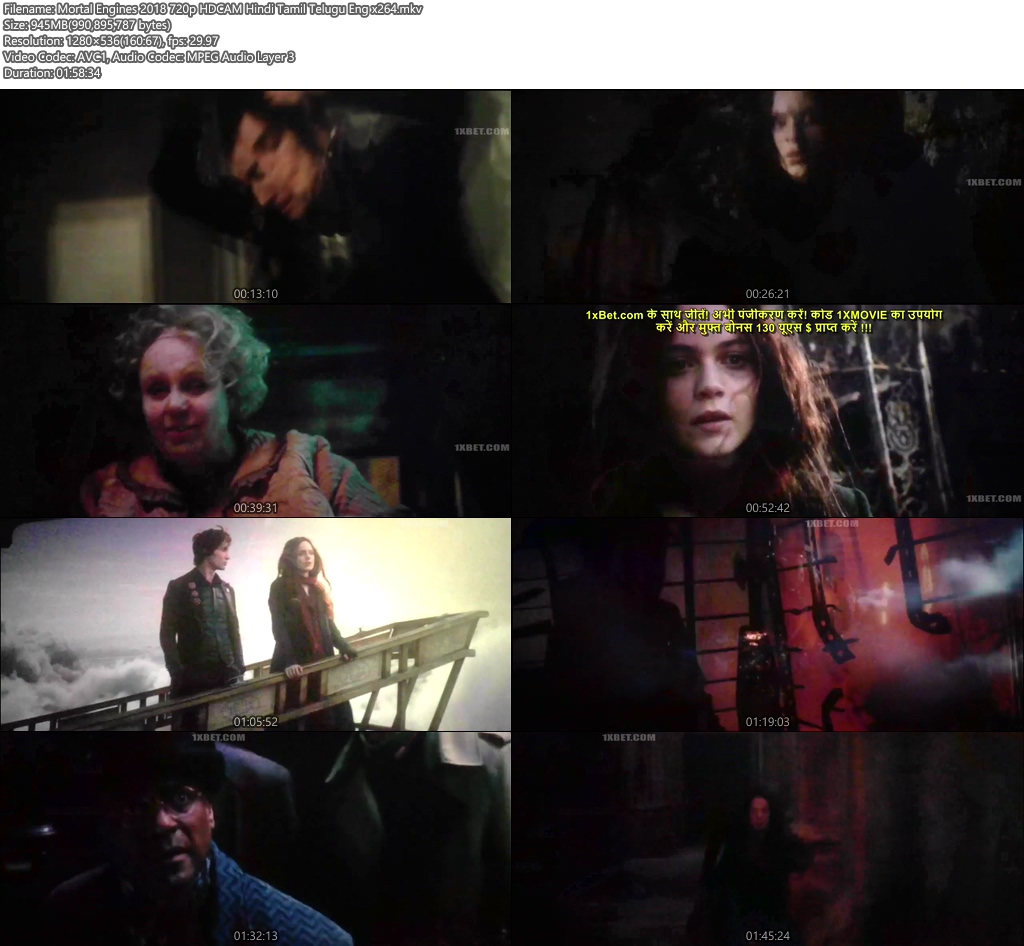 Mortal Engines 2018 480p HDCAM Hindi Tamil Telugu Eng x264 | 480p 300MB | 100MB HEVC Screenshot