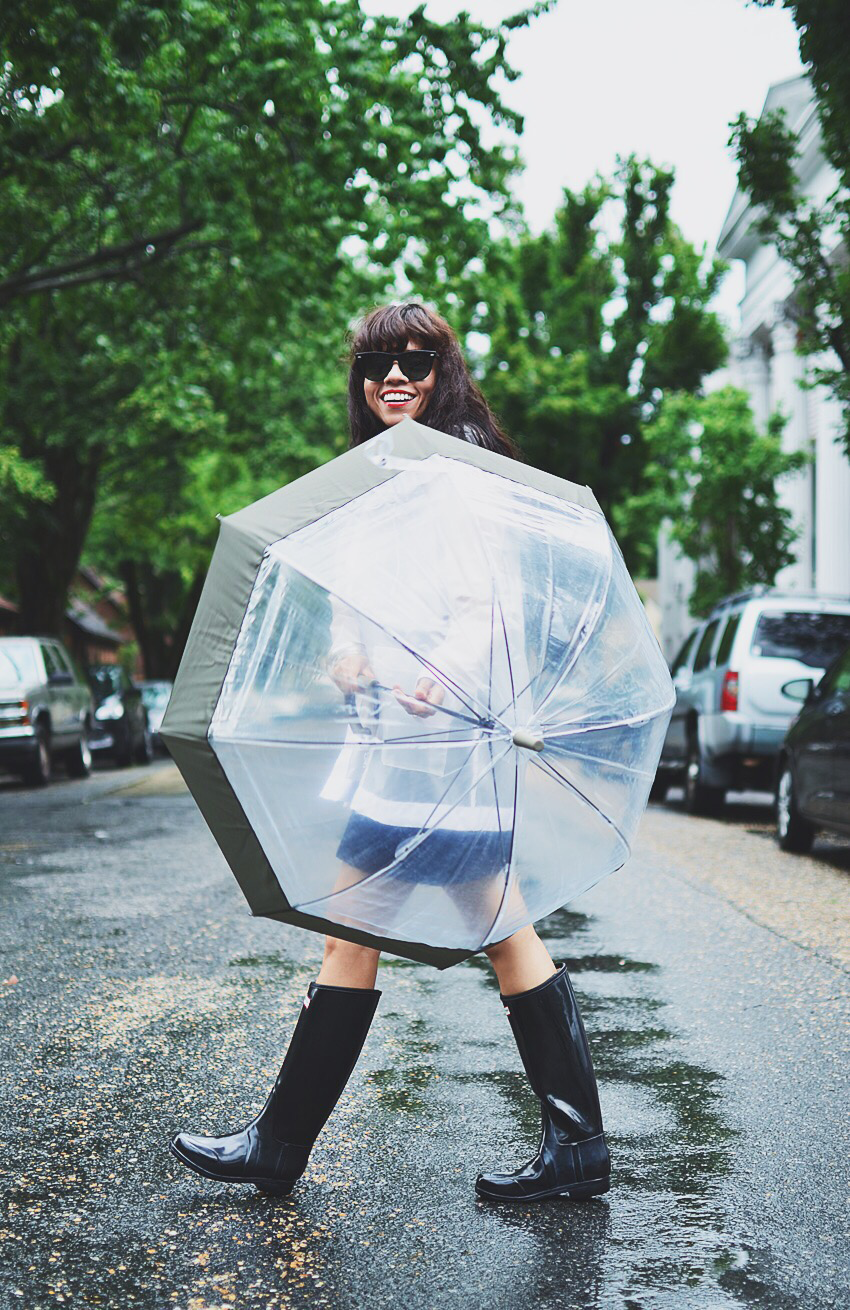 Outfit with clear umbrella