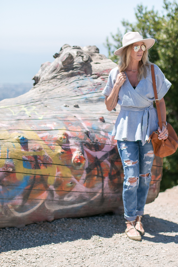 blue and white kimono stripe top