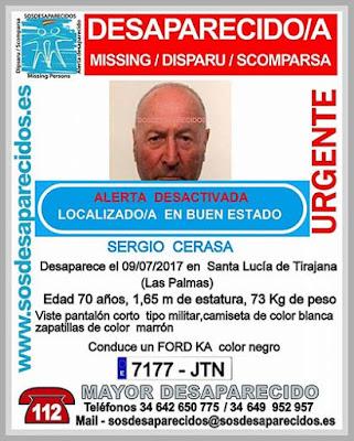 Sergio Cerasa, hombre desaparecido, Santa Lucía de Tirajana,localizado buen estado