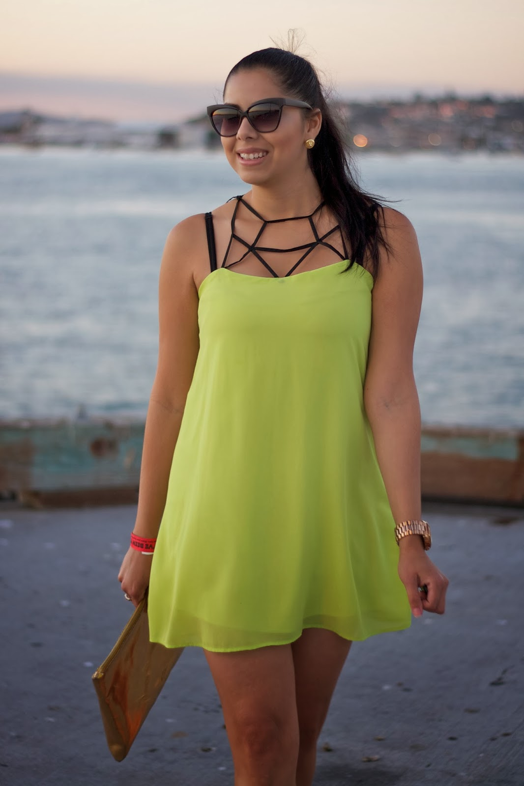 rattle your cage highlighter yellow dress