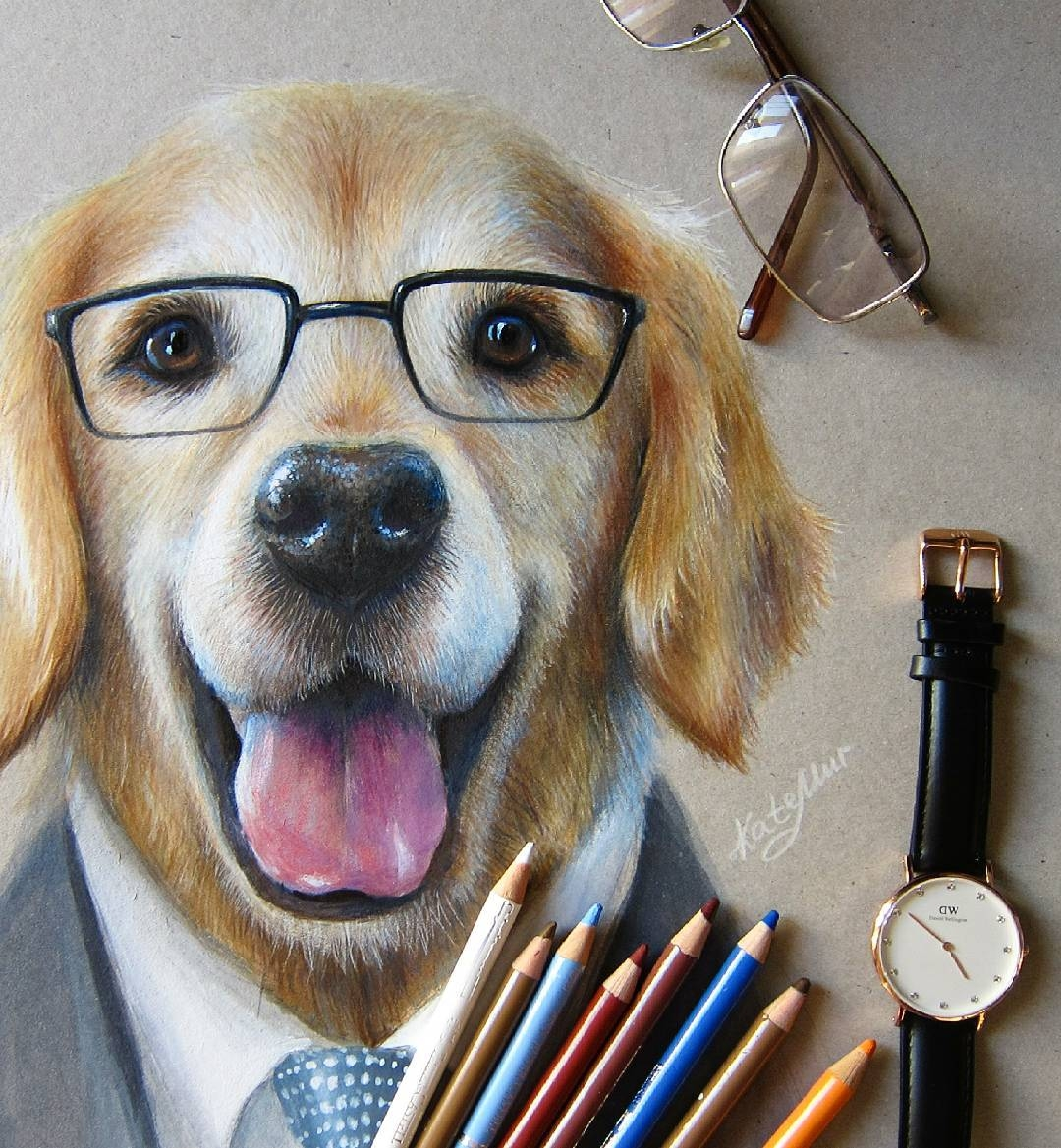 06-Dog-with-Glasses-Kate-Mur-Fantasy-and-Realism-in-Paintings-and-drawings-of-animals-www-designstack-co