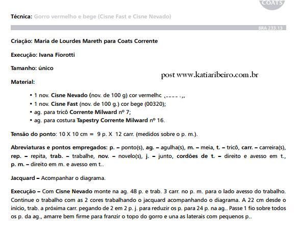 7eb4eb77cebac Gorro Masculino em tricô com receita e gráfico - Katia Ribeiro ...