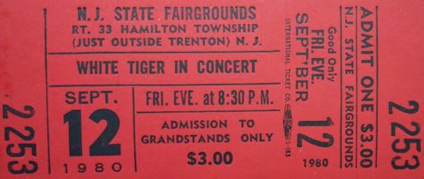 White Tiger ticket 1980 NJ Fair Grounds