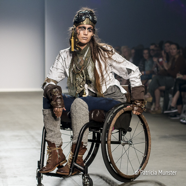 Roos Prommenschenkel opens Sue ft. VJR jewels fashion show at Fashion Week Amsterdam in a wheelchair