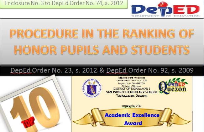 procedure on ranking pupils excellence award certificate token