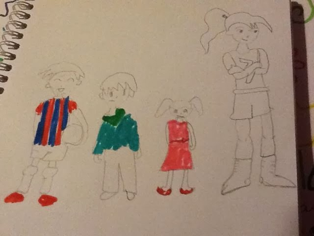 a drawing of 4 children