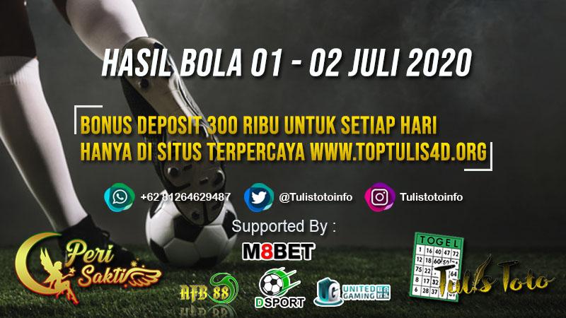 HASIL BOLA TANGGAL 01 – 02 JULI 2020