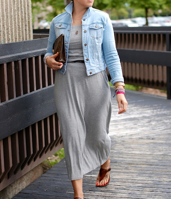 Forever 21 Jean jacket, Old Navy maxi dress, Gap belt, Mimi and Marge necklace, Louis Vuitton clutch, Michael Kors sandals