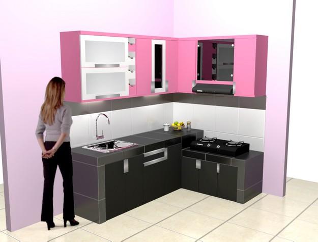 Kitchen Set Bentuk L Warna Pink Pesan Produksi Cepat Furniture Semarang