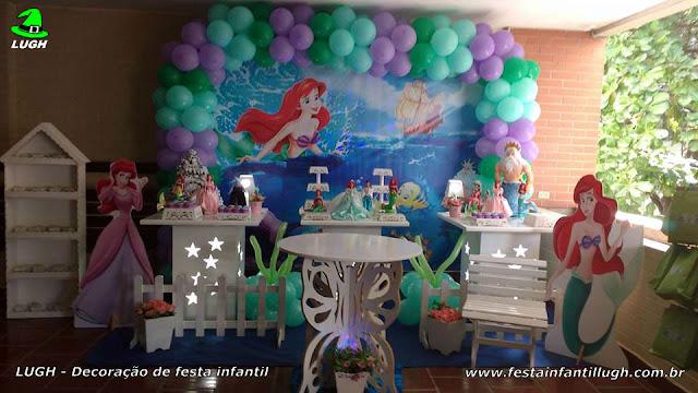 Decoração Ariel - Tema para decoração de aniversário de meninas em mesa decorativa provençal