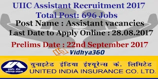 United india insurance company (UIIC) recruitment govt.jobs 2017 for the post of Assistant