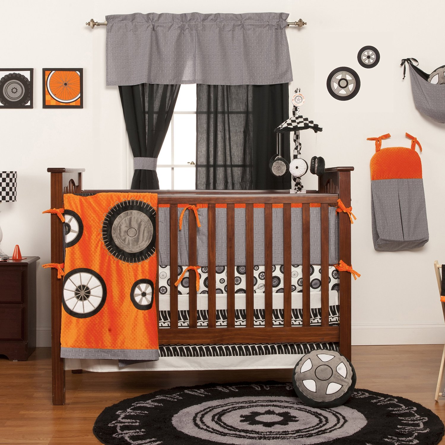 One Grace Place Race Car Crib Bedding Quilt Orange And Grey