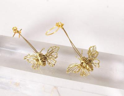 Gold handmade earrings, unusual earrings