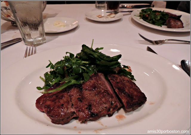 The Capital Grille Burlington: Dry Aged Sirloin with Roasted Pepper, Fresh Mozzarella and Arugula Salad