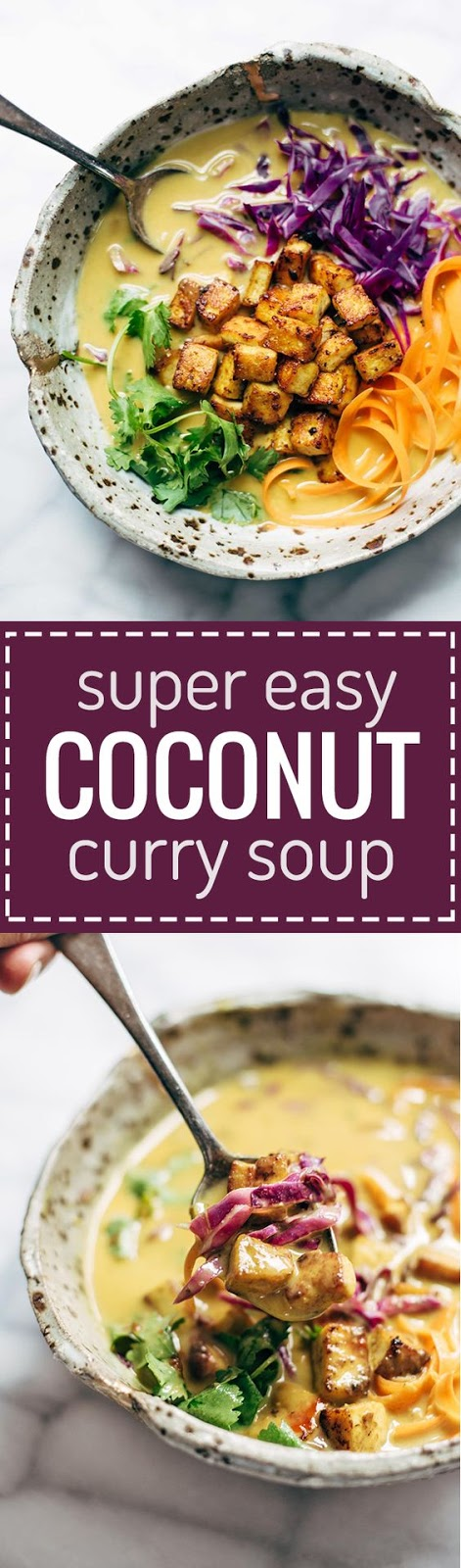 Coconut Curry Soup - this easy recipe can be made with almost ANY vegetables you have on hand! Silky-smooth and full of flavor. Vegetarian and vegan!