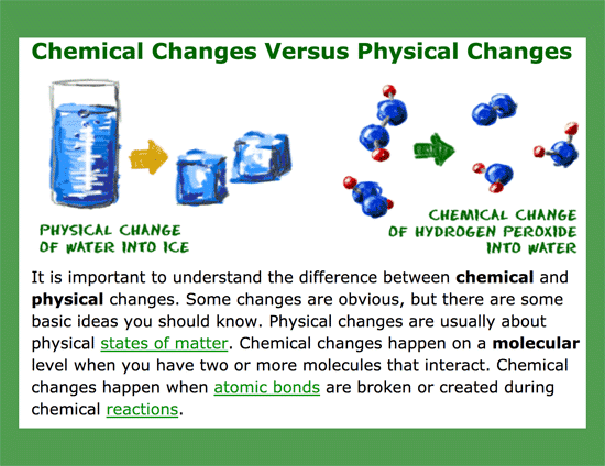 Differences between Chemical and physical changes