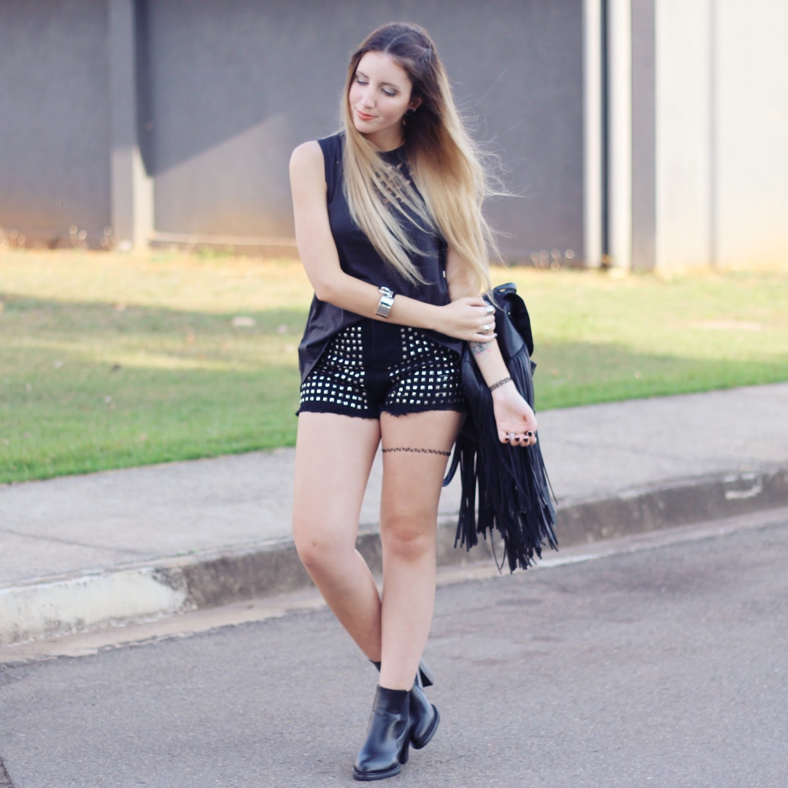 look do dia Shorts com rebites