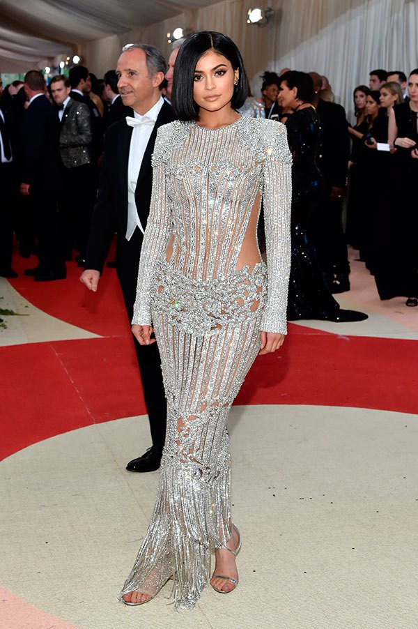 Kylie Jenner in a Balmain dress at the Met Gala 2016 in NYC