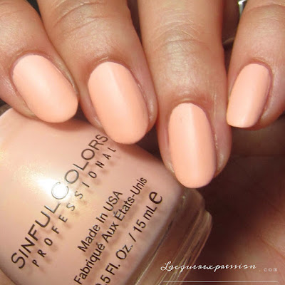 nail polish swatch of Peaches N' Cream from the Pretty Vintage Collection by SinfulColors in collaboration with Kandee Johnson