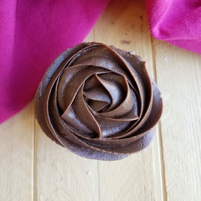 looking down on chocolate frosting rosette