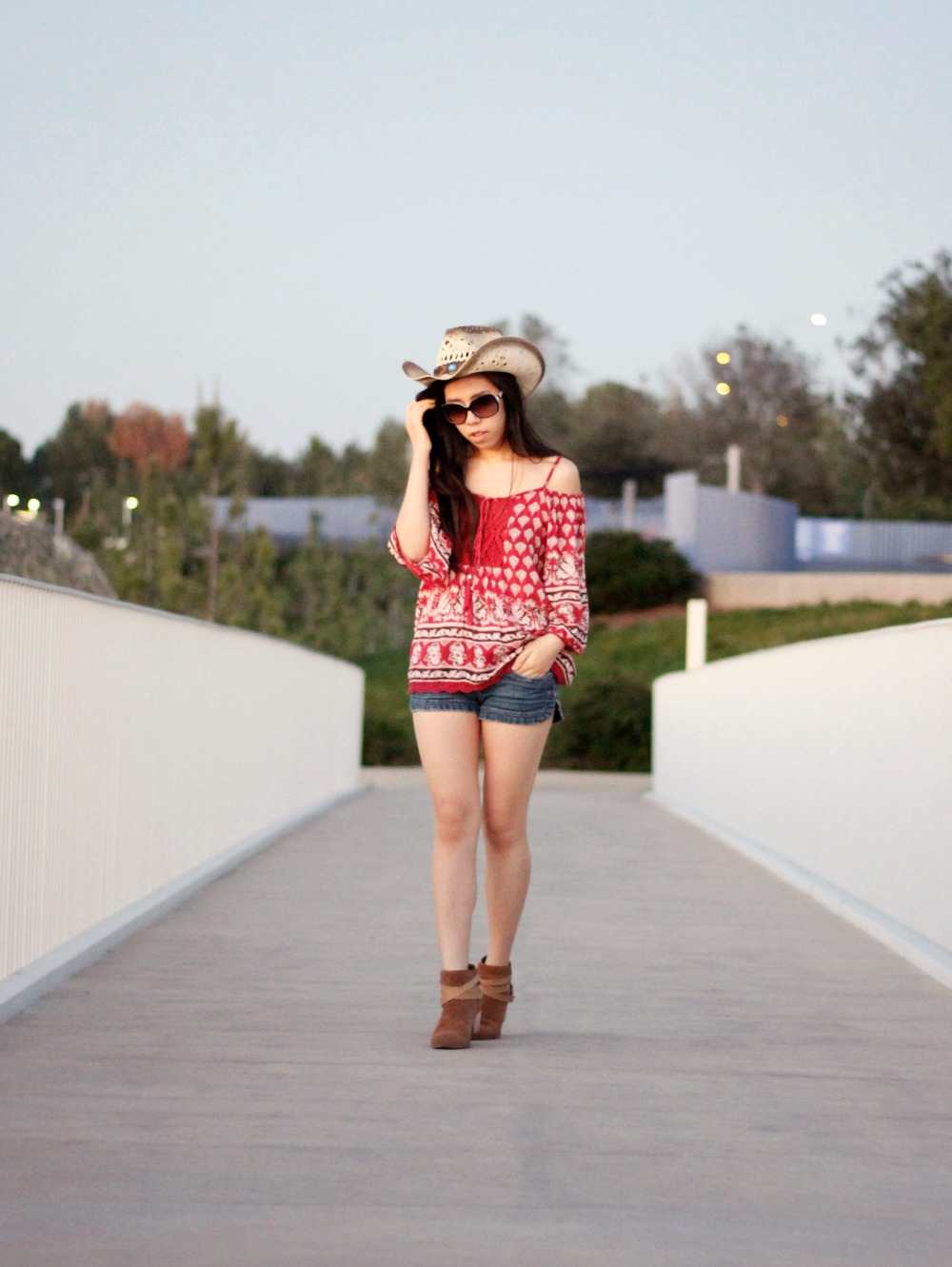 Red Boho Off the shoulder top_how to make a boho outfit for school