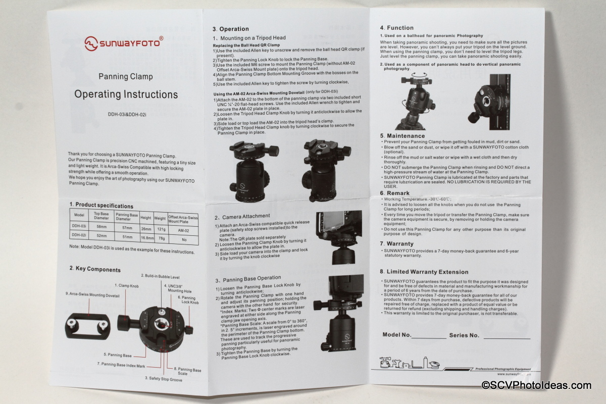 Sunwayfoto DDH-03i Panning Clamp operating instructions