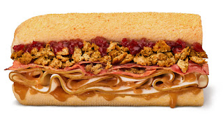 A long golden brown sub containing light and dark brown rectangular slices of meat, light brown circular pieces of stuffing, brown and red sauces on a white background