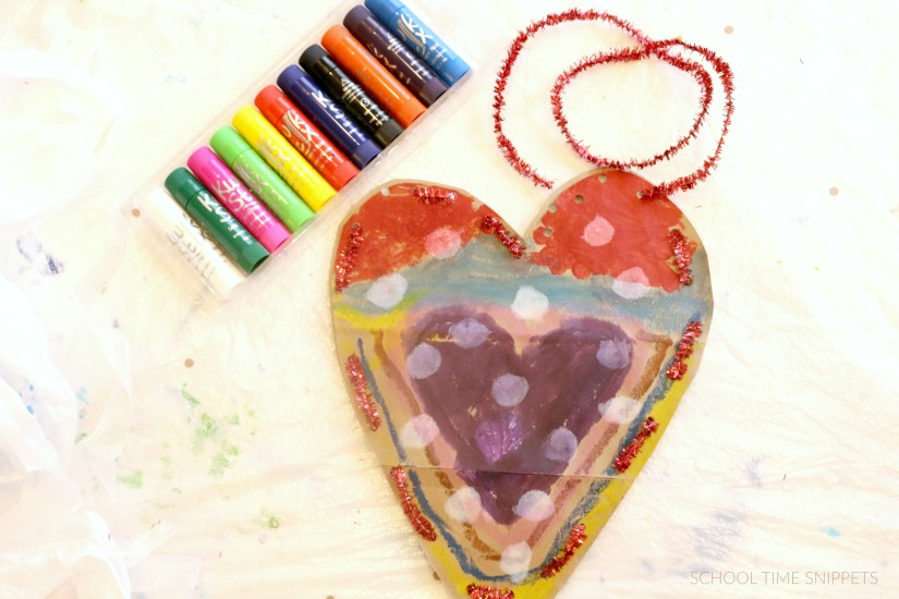 paper bag heart craft for kids