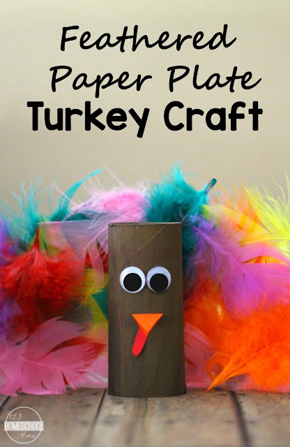 Feathered Paper Plate Turkey Craft - this is such a cute, easy to make thanksgiving craft you can make with things from the dollar store. Perfect for toddler, preschool, prek, kindergarten