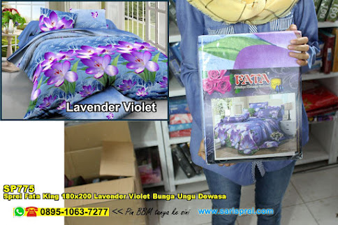 Sprei Fata King 180x200 Lavender Violet Bunga Ungu Dewasa