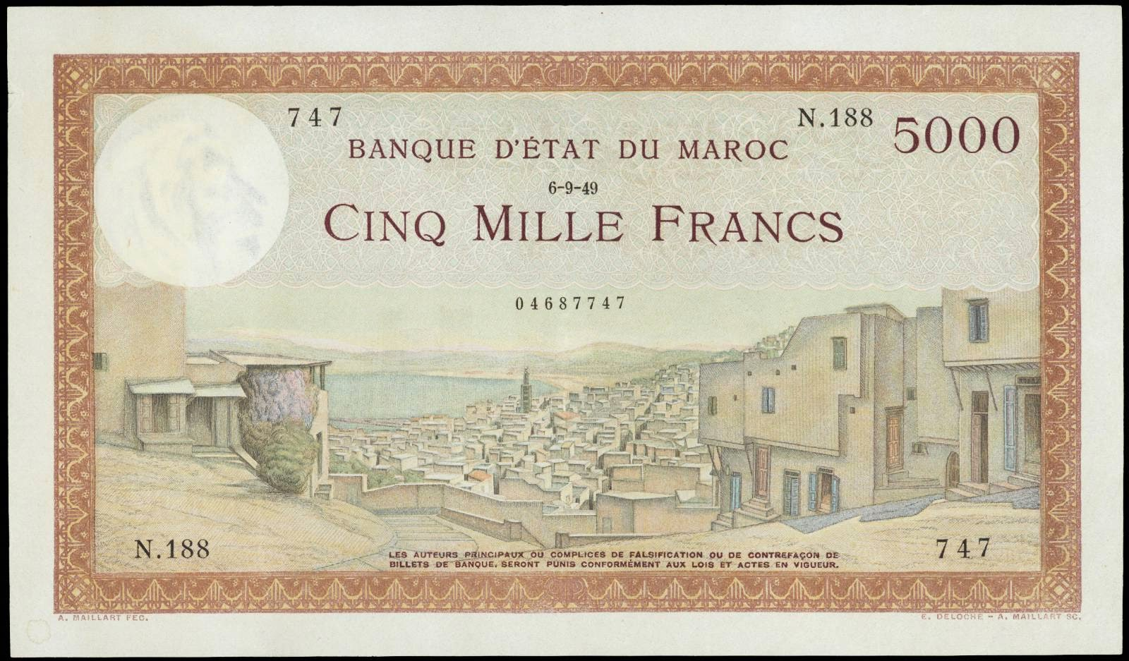 Morocco 5000 Francs banknote 1949 Moroccan City