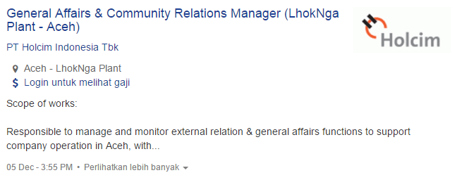 Lowongan Kerja PT Holcim Indonesia Tbk Terbaru 2019