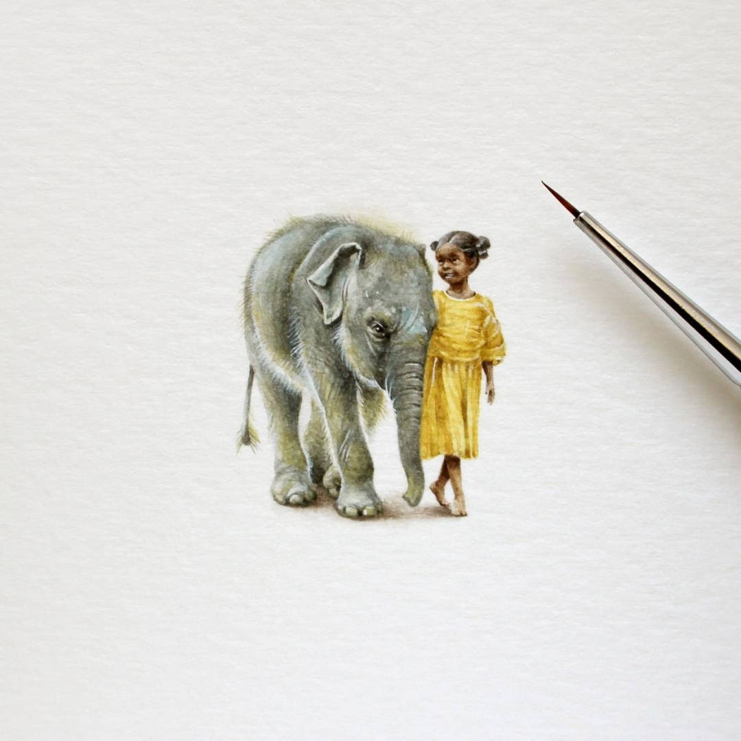 01-Baby-Elephant-and-Little-Girl-Julia-Las-Miniature-3-cm-Paintings-of-Wild-Animals-www-designstack-co
