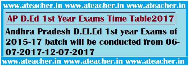 AP D.Ed 1st Year Exams Time Table2017,Hall Tickets 2017