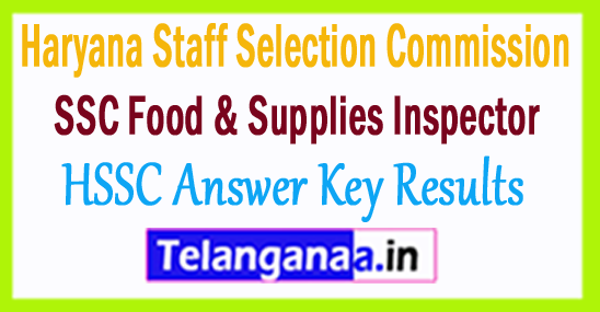 HSSC Inspector Food  Supplies Result 2018