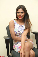 Nishi Ganda stunning cute in Flower Print short dress at Tick Tack Movie Press Meet March 2017 132.JPG