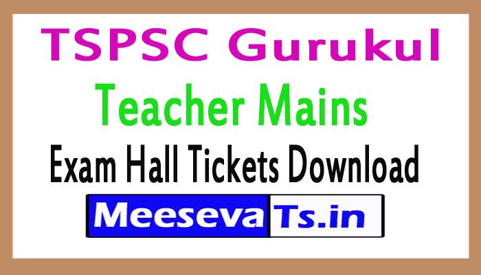 TSPSC Gurukul Teacher Mains Exam Hall Ticket 2017