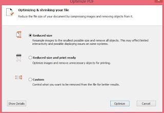 pilih reduced PDF dan pilih optimize untuk mengakhiri