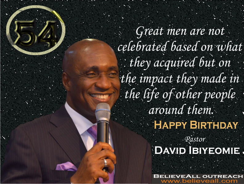 Pastor David Ibiyeomie is the presiding Pastor and founder of Salvation Ministries (Home Of Success), with its headquarter in Port Harcourt. His practical approach to the Word made him to be admired by many people who come under his teaching.   Born on October 21, 1962 in Bonny Island, Rivers State. His parents were indigenes of bolo Town in Ogu/Bolo local government Area of Rivers State, Nigeria.       After completing his Bible School training at Bishop David Oyedepo's Word of Faith Bible Institute (WOBI), started a house fellowship with his family at 1689B Buraima Kenku Street, Victoria Island, Lagos, Nigeria. He later relocated to Port Harcourt, Rivers State, where he started Salvation Ministries (Glorious Chapel) on April 13, 1997 at Plot 35 Birabi street, G.R.A. phase 1 Port Harcourt with a little over twenty members in attendance including him and his lovely wife, Peace Ibiyeomie.   In July 1997, the church relocated to from 35 Birabi to the present site, Plot 17 Birabi Street in G.R.A. Port Harcourt.  Presently, the church boosts of over 50,000 worshipers every Sunday only at the church headquarter. The church also has numerous branches all over Nigeria, United State of America, etc.  His dynamism and approach made his church to be one of the fastest growing churches in the world.   The church services can be watch live through the church online portal www.smhos.org/ .   Today the church and his admirers all over the world celebrate the dynamic and charismatic preacher with a vision directed by God and motivated to carry on the will of the heavenly father to build heavenly minded people.   Happy Birthday my mentor and motivator!  I Love You My Papa.  #HappyBirthdayDavidIbiyeomie (Please let us use this hashtag to celebrate him)