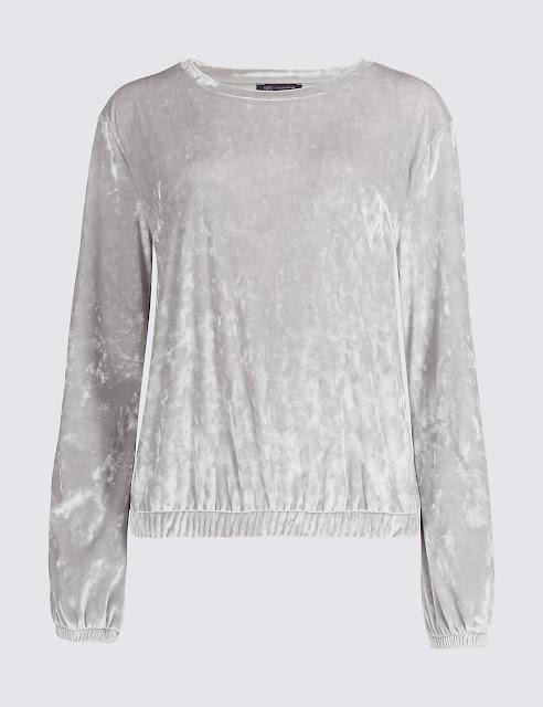 silver velvet sweatshirt