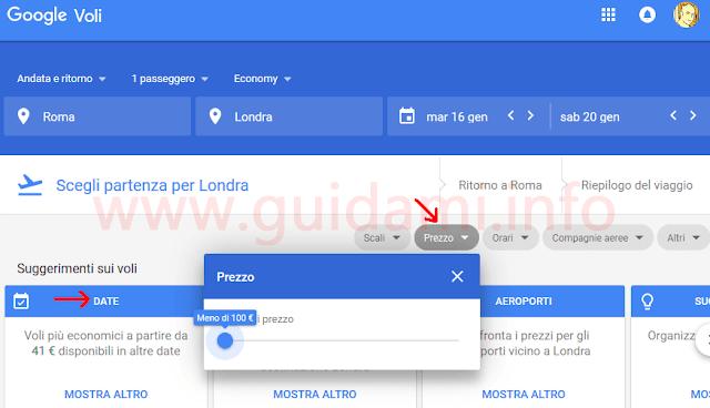 Google Voli filtri per biglietti economici