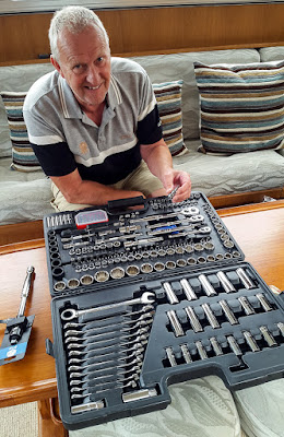 Photo of Phil checking out our new tools