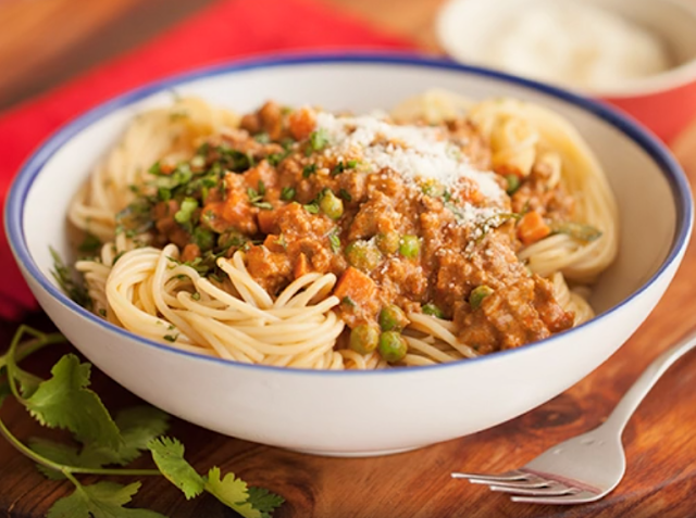 Spaghetti with spicy minced meat