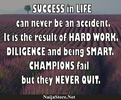 SUCCESS in LIFE can never be an accident. It is the result of HARD WORK, DILIGENCE and being SMART. CHAMPIONS fail but they NEVER QUIT - Quotes