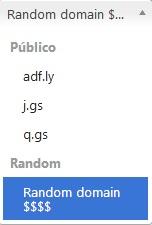 Adfly - dominios aleatorios