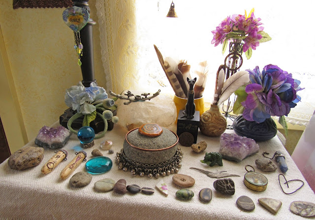 rocks, minerals, and fossils on my nature altar